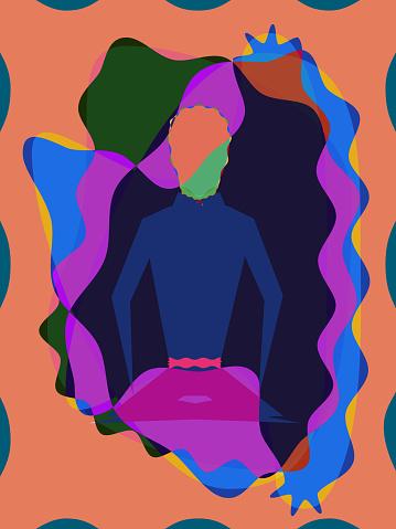 Minimalistic abstract illustration - Meditating man.