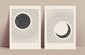 istock Minimalistic abstract sun and moon mystic posters design template with black sun and moon silhouettes with sunburst. Vector illustration 1278428752