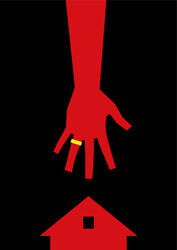 Minimalistic art with red silhouettes of a hand with a wedding ring and houses