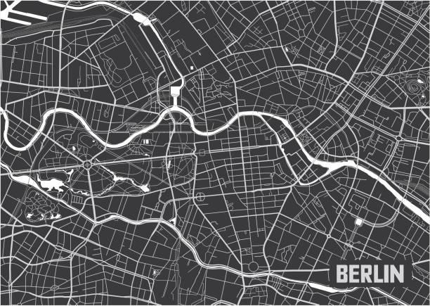 bildbanksillustrationer, clip art samt tecknat material och ikoner med minimalistisk berlin city karta affisch design. - berlin street