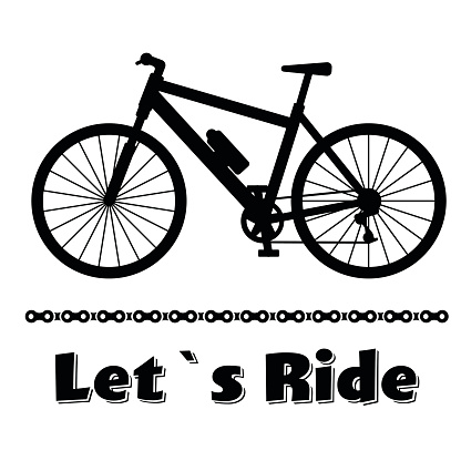 Minimalistic bike poster Let s Ride. Black mountain bicycle with
