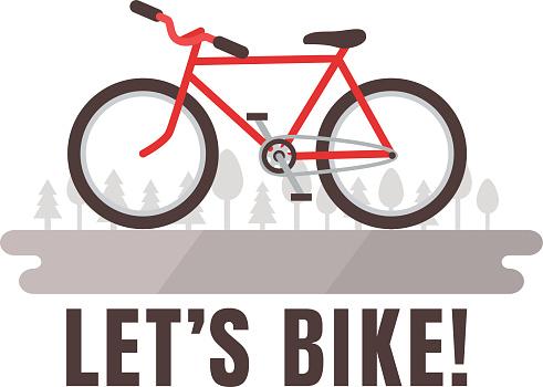 Minimalistic bike poster Let's Bike! Red bicycle.