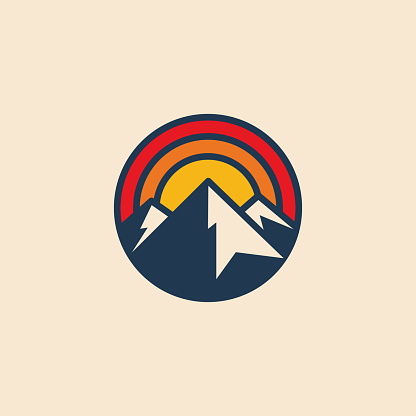Minimalistic circular mountain logo icon design template with mountain peak and sunset. Vintage styled vector illustration.