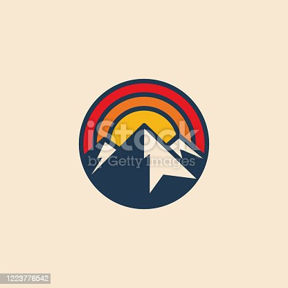 istock Minimalistic circular mountain logo icon design template with mountain peak and sunset. Vintage styled vector illustration. 1223776542