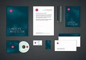 Minimalistic corporate identity template for landscape design, architecture company