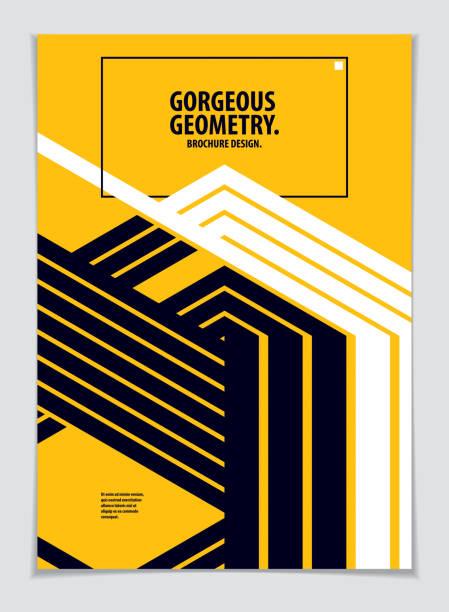 minimalistische abdeckung broschüre design. vektor geometrisch abstrakten hintergrund. layout für cover, plakat, poster, flyer und banner-design. a4 format ausdrucken. - bauhaus stock-grafiken, -clipart, -cartoons und -symbole