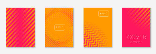 minimalistic cover template set with gradients - orange color stock illustrations