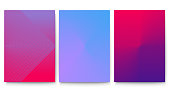 Minimalistic covers set with gradient backdrop. Posters with abstract geometric design. Vector banners ready for print, 3D illustration