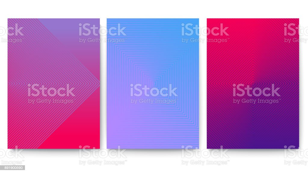 Minimalistic cubre el conjunto con fondo degradado. Carteles con diseño geométrico abstracto. Banderas vectoriales listos para impresión, 3D ilustración - ilustración de arte vectorial