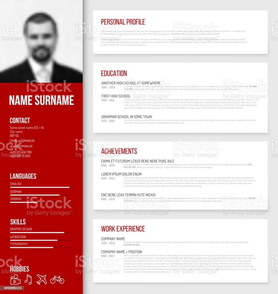 minimalistic cv resume template stock vector art  u0026 more