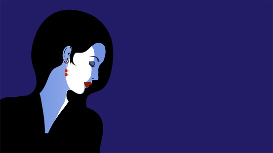 Minimalistic flat portrait of a girl in profile