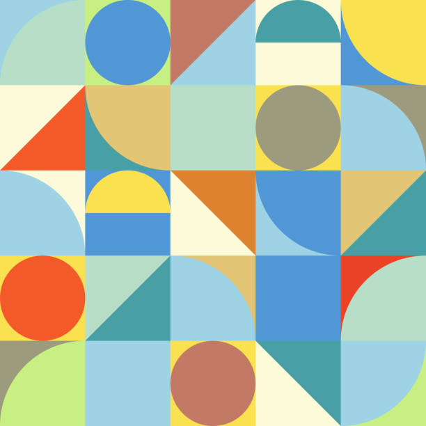 minimalistic geometry abstract vector pattern design - art and craft stock illustrations