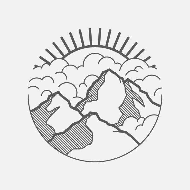 minimalistische grafische landschaft mit bergen, wolken und sonne - landschaftstattoo stock-grafiken, -clipart, -cartoons und -symbole