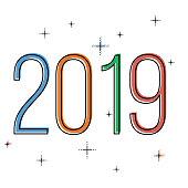 minimalistic Happy new year 2019 card
