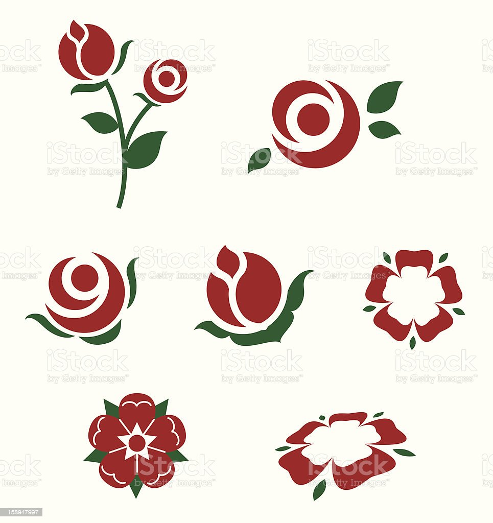 Minimalistic icons of various red and green roses vector art illustration