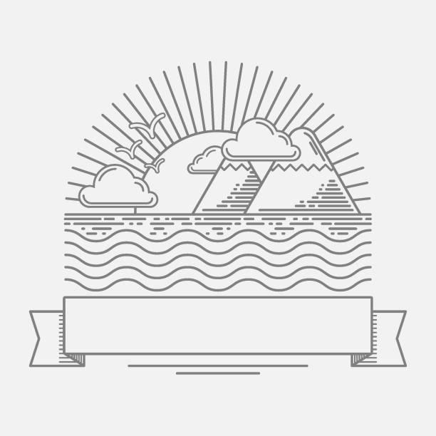 minimalistische darstellung der berge am meer - landschaftstattoo stock-grafiken, -clipart, -cartoons und -symbole
