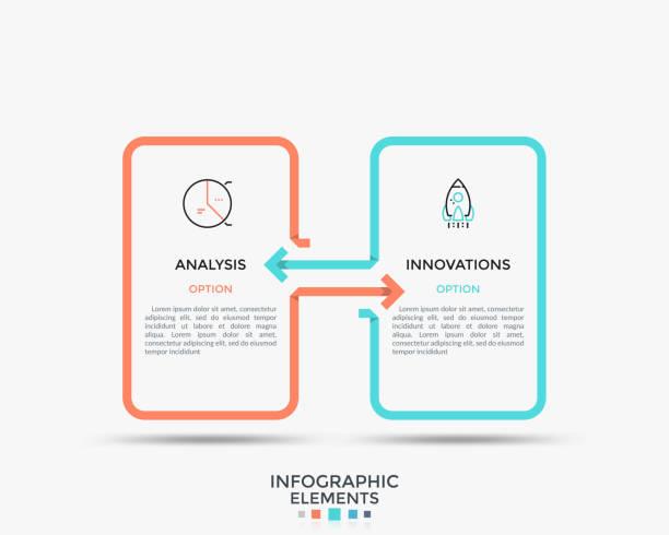 ilustrações, clipart, desenhos animados e ícones de banner infográfico minimalista - dois objetos