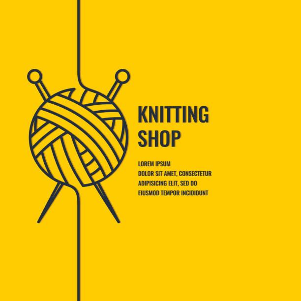 編み物ショップのミニマルな線形ポスター - 編む点のイラスト素材/クリップアート素材/マンガ素材/アイコン素材