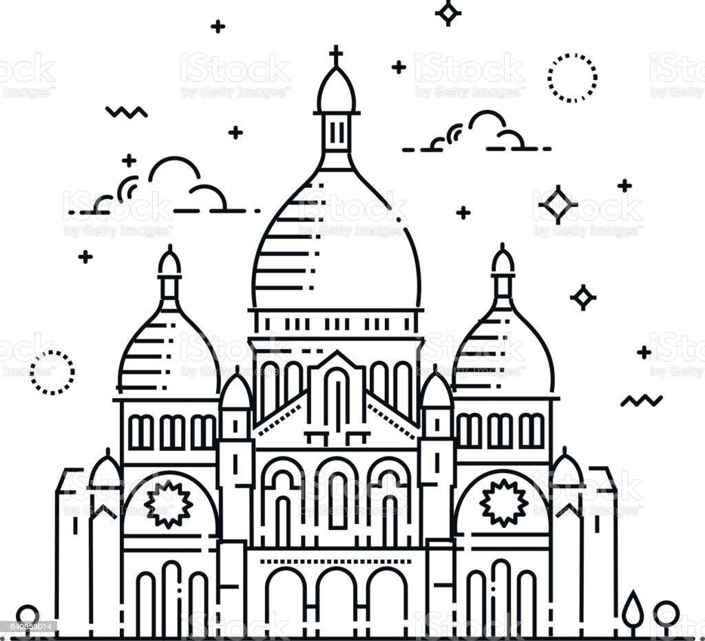 Minimalistic line-art landmark icon of the Sacre-Coeur in Paris, France vector art illustration