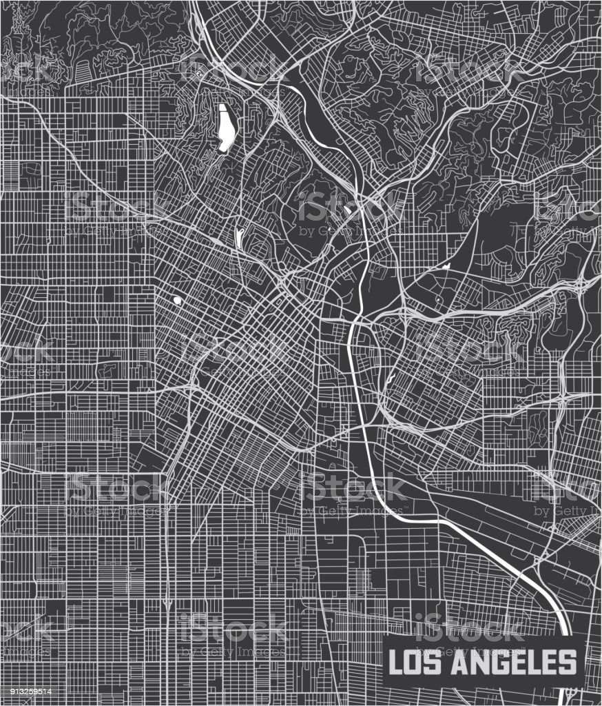 Arte Design In Los Angeles Images: Minimalistic Los Angeles City Map Poster Design Stock