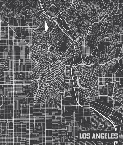 Minimalistic Los Angeles city map poster design. Minimalistic Los Angeles city map poster design. los angeles stock illustrations