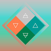 Four nature elements scheme with contour white triangles in colorful rhombuses on blurred background