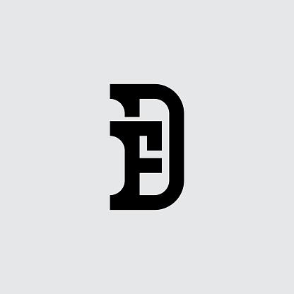 Minimalistic monogram. Premium business logotype. DF - Elegant universal sign. Graphic symbol for corporate identity. Symbiosis of symbols. Letter D and F logo design.