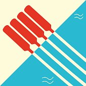 Minimalistic poster template for rowing regatta. Boat rowing race event illustration. Great also as teamwork concept.