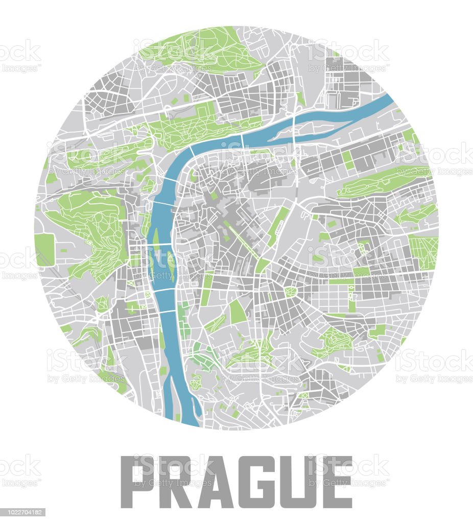 Prag Karte Europa.Minimalistische Prag Karte Wahrzeichen Der Stadt Stock Vektor Art