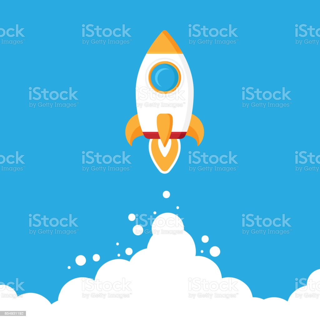 Minimalistic rocket launch flat icon. Rocket illustration with clouds, space and launch fire, flat modern art. vector art illustration