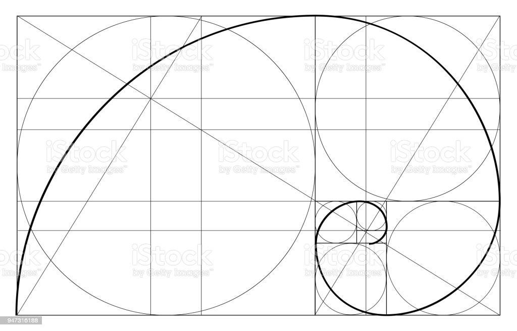 ミニマルなスタイルのデザイン。黄金比。幾何学的図形。黄金比で円。未来的なデザイン。ロゴ。ベクトルのアイコン。抽象的なベクトルの背景 - 黄金比のロイヤリティフリーベクトルアート
