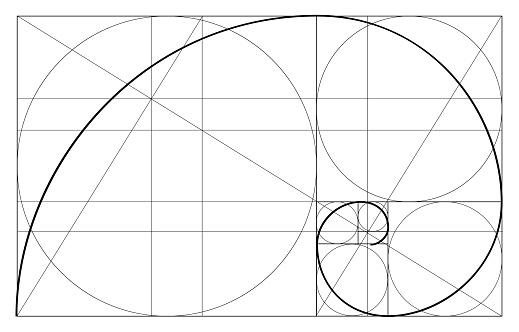 Minimalistic Style Design Golden Ratio Geometric Shapes Circles In Golden Proportion Futuristic Design Logo Vector Icon Abstract Vector Background — стоковая векторная графика и другие изображения на тему Без людей