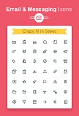 Minimalistic vector line email and messaging app tiny icon set