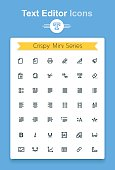 Minimalistic vector line text document editing application tiny icon set