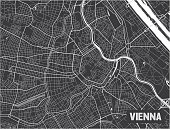 Minimalistic Vienna city map poster design.