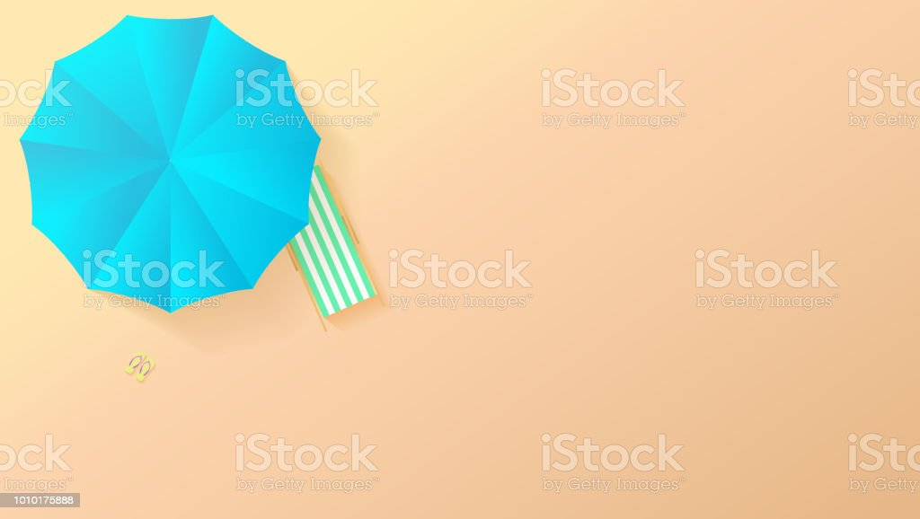 Minimalistic View Of Summer Beach In Paper Craft Style Flat Lay Top On