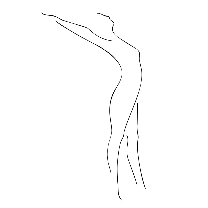 Minimalistic woman silhouette drawn by lines. Vector illustration