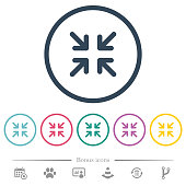 istock Minimize arrows flat color icons in round outlines 1071014226
