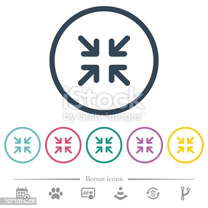 Minimize arrows flat color icons in round outlines. 6 bonus icons included.