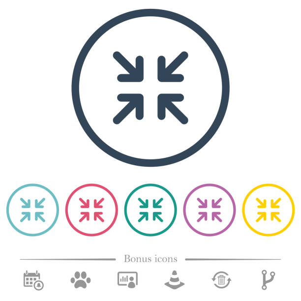Minimize arrows flat color icons in round outlines Minimize arrows flat color icons in round outlines. 6 bonus icons included. narrow stock illustrations