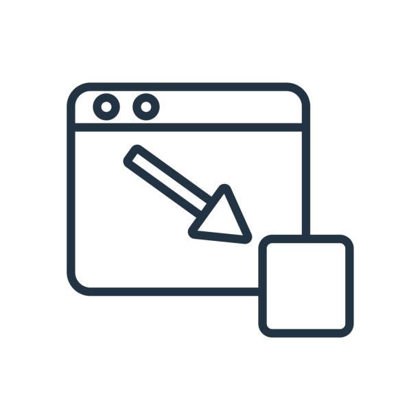 Vector icono de minimizar aislado sobre fondo blanco, signo de minimizar - ilustración de arte vectorial