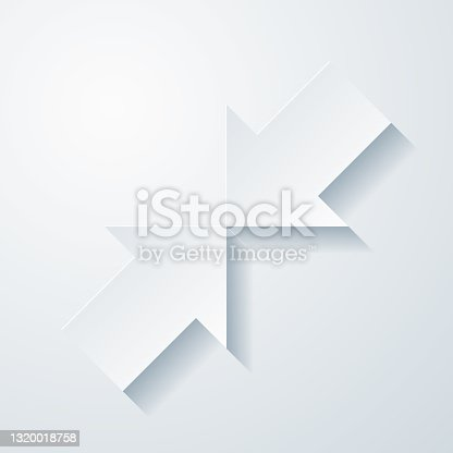 istock Minimize. Icon with paper cut effect on blank background 1320018758