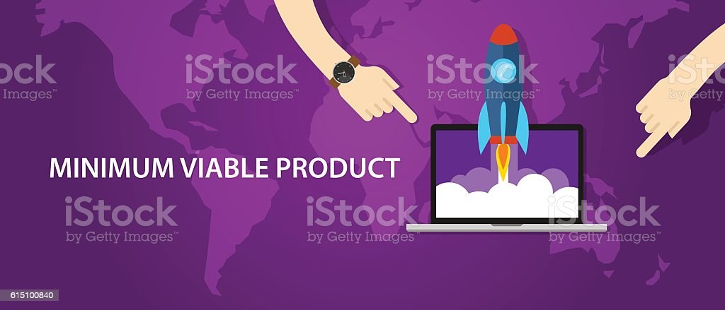 MVP minimum viable product rocket launch vector art illustration