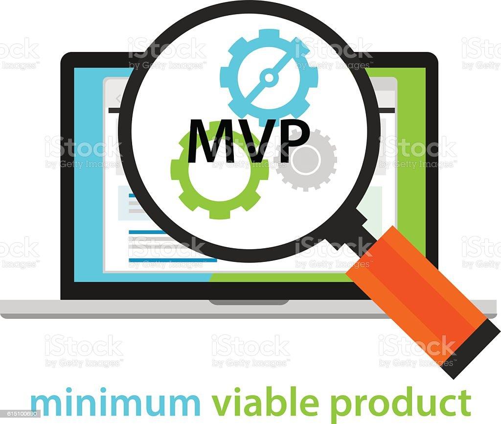 MVP minimum viable product start-up working gear software vector art illustration