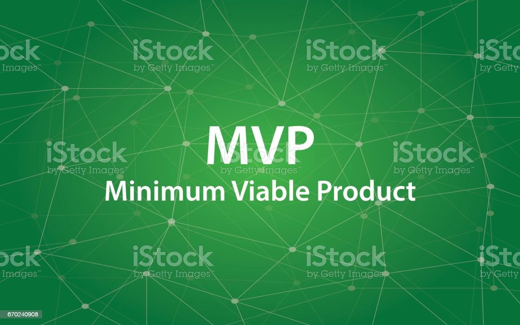 MVP Minimum viable product white text illustration with green constellation as background vector art illustration