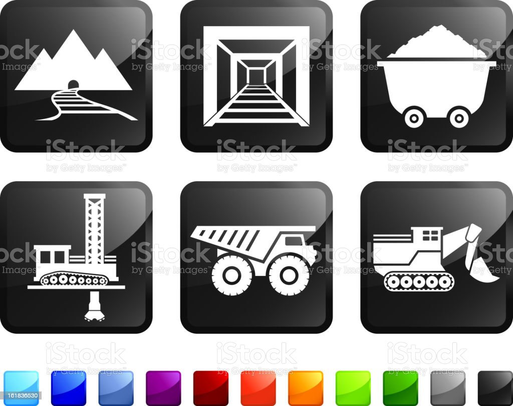 Mining and Drilling royalty free vector icon set stickers royalty-free stock vector art