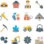 Mining and quarrying vector icons in flat style. Miner equipment and tools isolated on white background. Set mining industry icons.