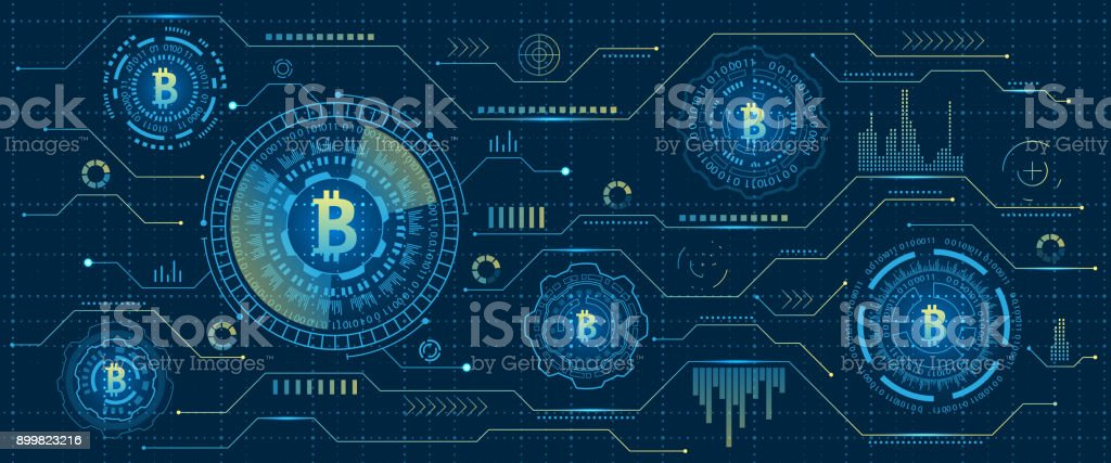 Mining Bitcoin Cryptocurrency, Digital Stream. Futuristic Money. Blockchain. Cryptography vector art illustration