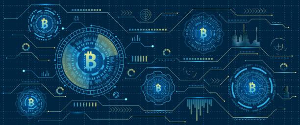 stockillustraties, clipart, cartoons en iconen met mijnbouw bitcoin cryptocurrency, digitale stream. futuristische geld. blockchain. cryptografie - bitcoin
