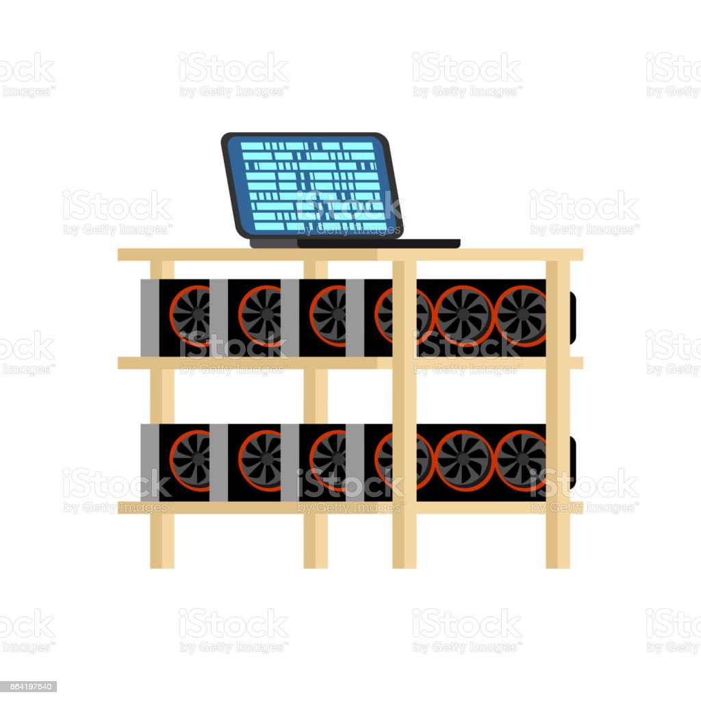 Mining farm isolated. Home Mining rig GPU. Crypto currency at home. Extraction of virtual money. Vector illustration royalty-free mining farm isolated home mining rig gpu crypto currency at home extraction of virtual money vector illustration stock vector art & more images of bank
